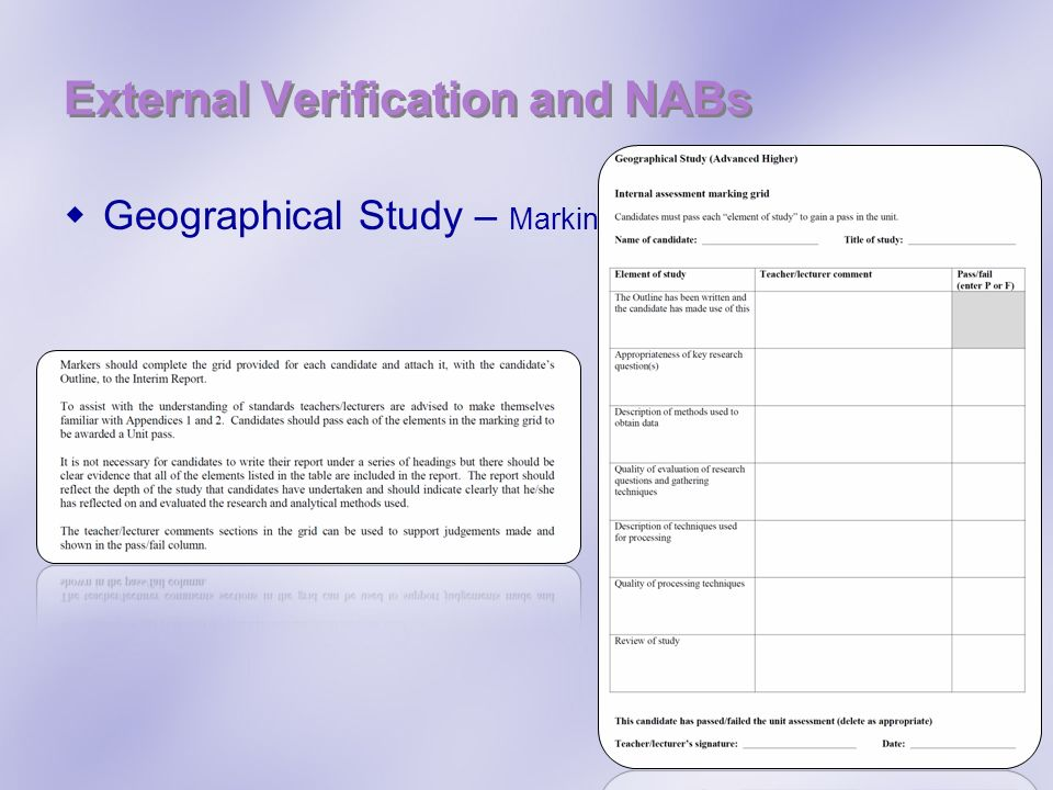 External Verification and NABs Geographical Study – Marking Information