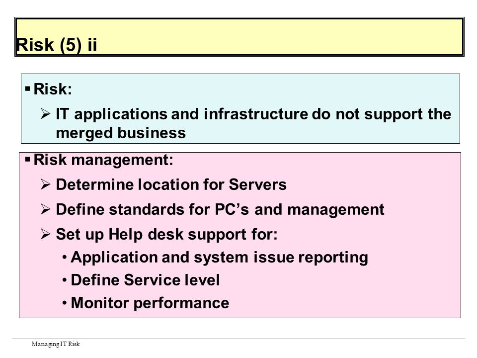 Managing IT Risk Risk (5) ii Risk: IT applications and infrastructure do not support the merged business Risk management: Determine location for Servers Define standards for PCs and management Set up Help desk support for: Application and system issue reporting Define Service level Monitor performance