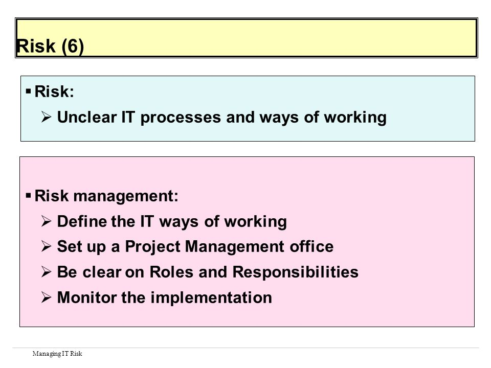 Managing IT Risk Risk (6) Risk: Unclear IT processes and ways of working Risk management: Define the IT ways of working Set up a Project Management office Be clear on Roles and Responsibilities Monitor the implementation
