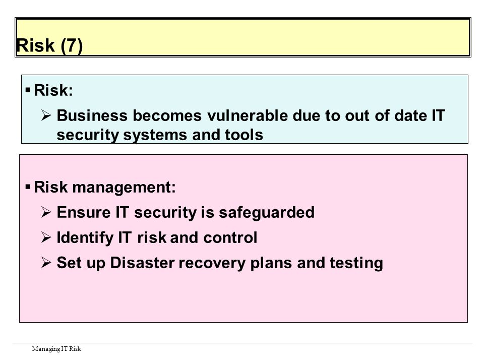 Managing IT Risk Risk (7) Risk: Business becomes vulnerable due to out of date IT security systems and tools Risk management: Ensure IT security is safeguarded Identify IT risk and control Set up Disaster recovery plans and testing