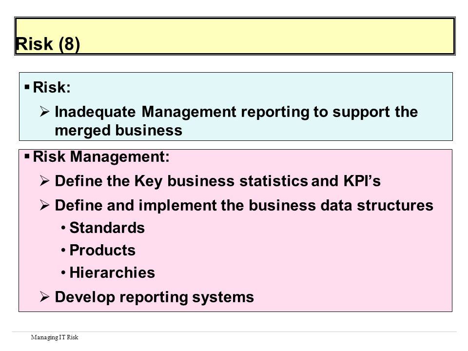 Managing IT Risk Risk (8) Risk: Inadequate Management reporting to support the merged business Risk Management: Define the Key business statistics and KPIs Define and implement the business data structures Standards Products Hierarchies Develop reporting systems