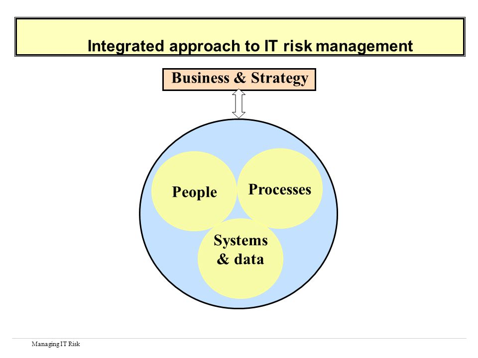 Managing IT Risk Integrated approach to IT risk management Processes Systems & data People Business & Strategy