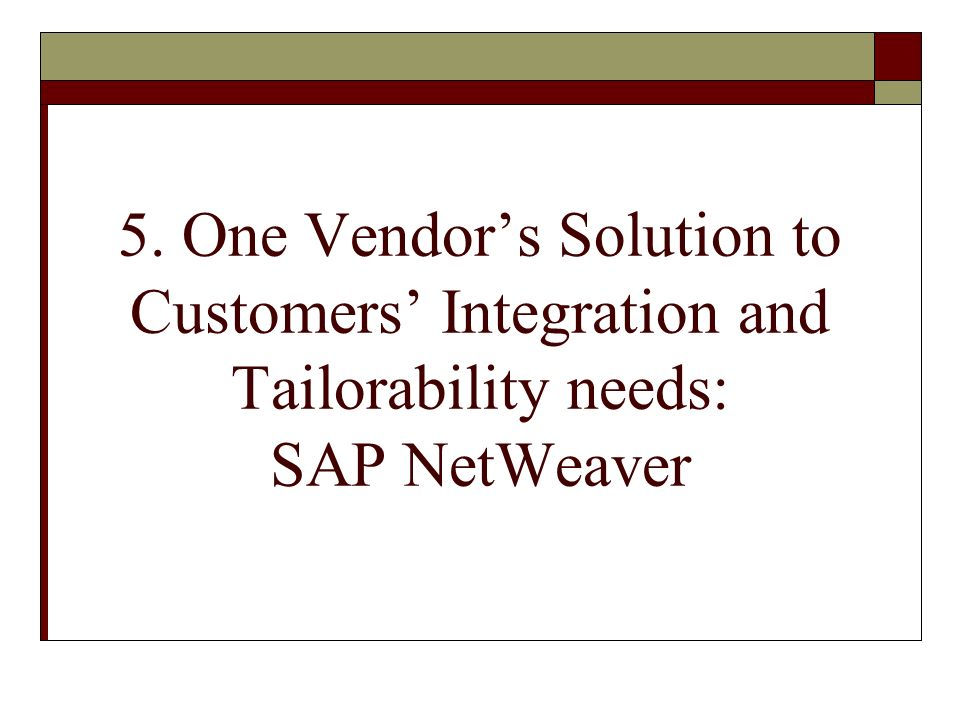 5. One Vendors Solution to Customers Integration and Tailorability needs: SAP NetWeaver