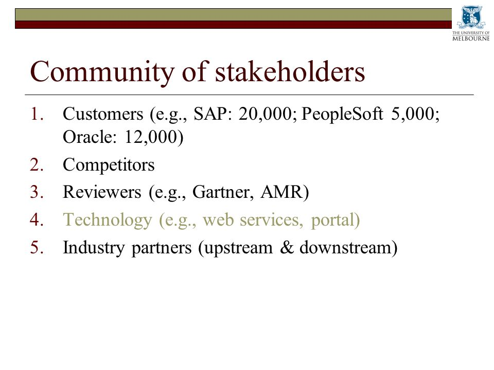 Community of stakeholders 1.Customers (e.g., SAP: 20,000; PeopleSoft 5,000; Oracle: 12,000) 2.Competitors 3.Reviewers (e.g., Gartner, AMR) 4.Technology (e.g., web services, portal) 5.Industry partners (upstream & downstream)