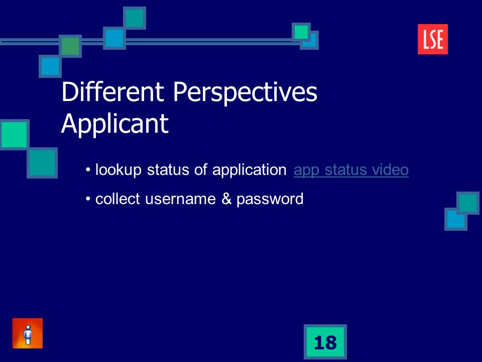 18 lookup status of application app status videoapp status video collect username & password Different Perspectives Applicant