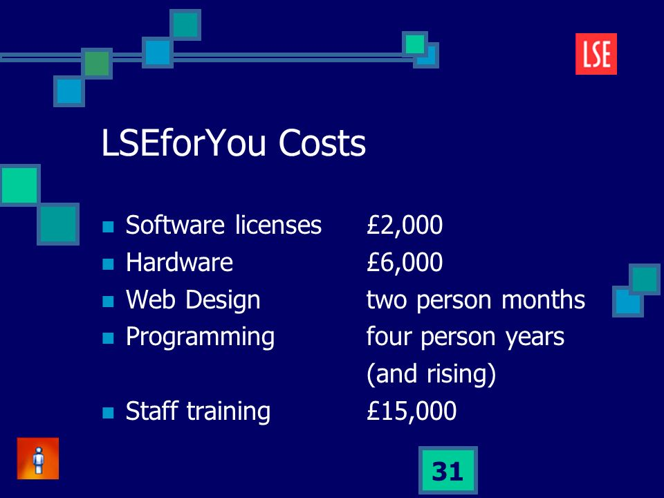 31 LSEforYou Costs Software licenses£2,000 Hardware£6,000 Web Designtwo person months Programmingfour person years (and rising) Staff training£15,000