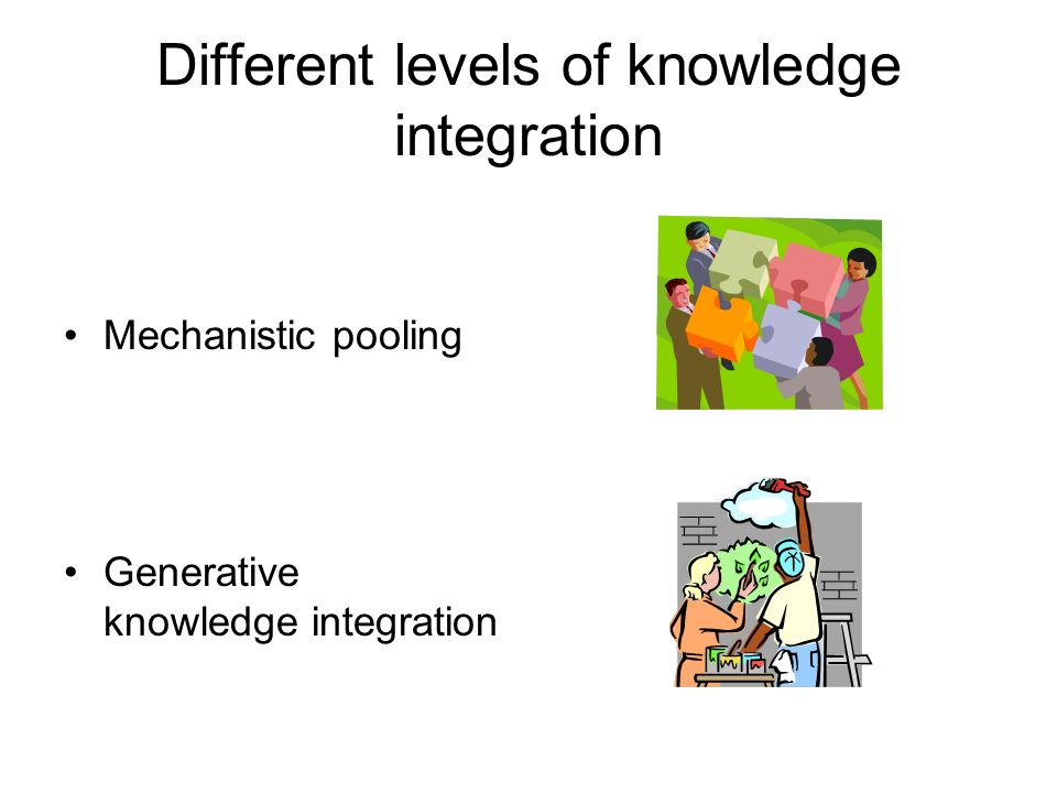 Different levels of knowledge integration Mechanistic pooling Generative knowledge integration