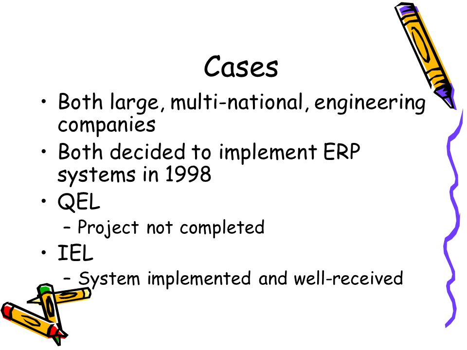 Cases Both large, multi-national, engineering companies Both decided to implement ERP systems in 1998 QEL –Project not completed IEL –System implemented and well-received
