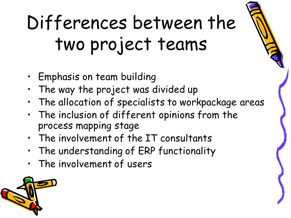 Differences between the two project teams Emphasis on team building The way the project was divided up The allocation of specialists to workpackage areas The inclusion of different opinions from the process mapping stage The involvement of the IT consultants The understanding of ERP functionality The involvement of users