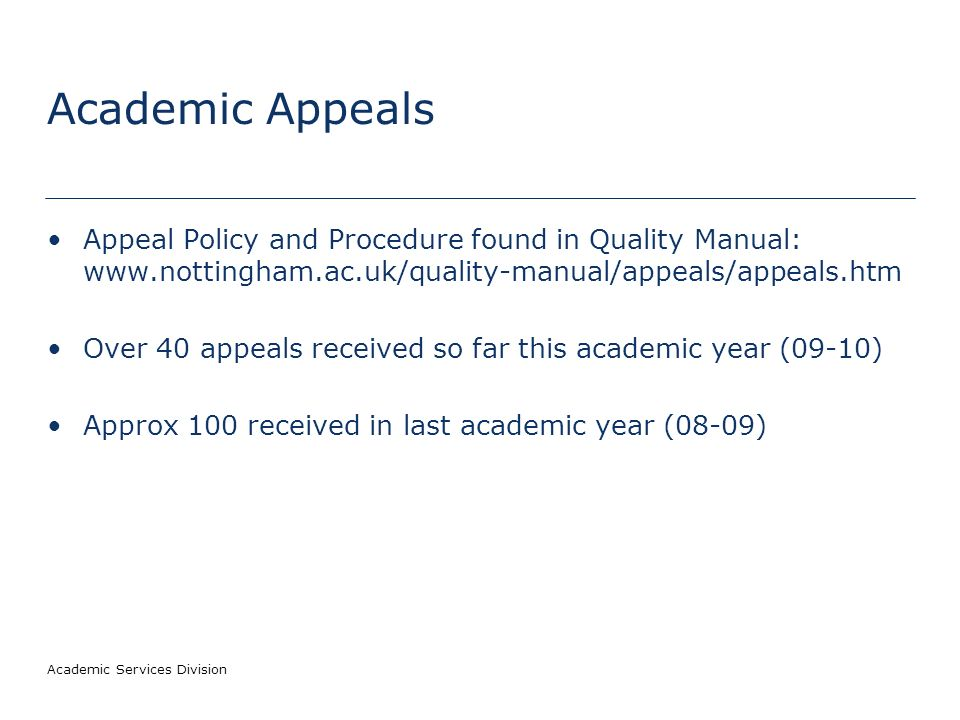 Academic Services Division Academic Appeals and Complaints