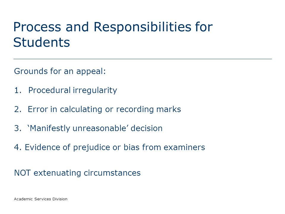 Process and Responsibilities for Students What kind of decisions can students appeal against.