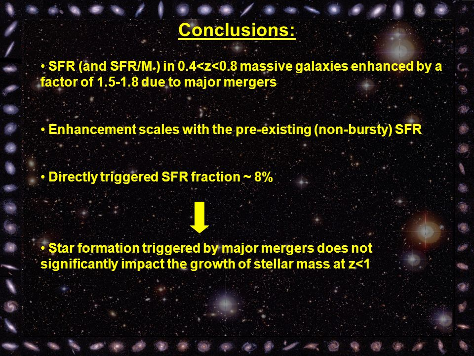 Conclusions: SFR (and SFR/M * ) in 0.4<z<0.8 massive galaxies enhanced by a factor of 1.5-1.8 due to major mergers Enhancement scales with the pre-existing (non-bursty) SFR Directly triggered SFR fraction ~ 8% Star formation triggered by major mergers does not significantly impact the growth of stellar mass at z<1