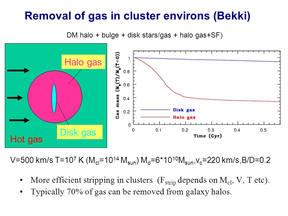 Hot gas Disk gas Halo gas V=500 km/s T=10 7 K (M cl =10 14 M sun ) M d =6*10 10 M sun,v c =220 km/s,B/D=0.2 (DM halo + bulge + disk stars/gas + halo gas+SF) Removal of gas in cluster environs (Bekki) More efficient stripping in clusters (F strip depends on M cl, V, T etc).