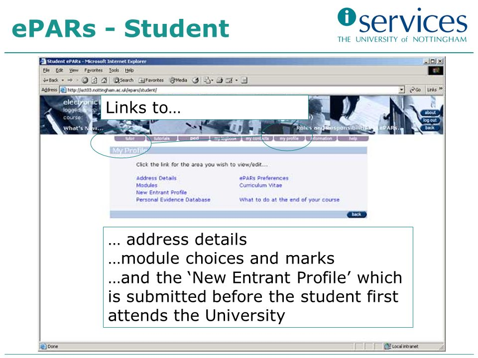 ePARs - Student … address details …module choices and marks …and the New Entrant Profile which is submitted before the student first attends the University Links to…