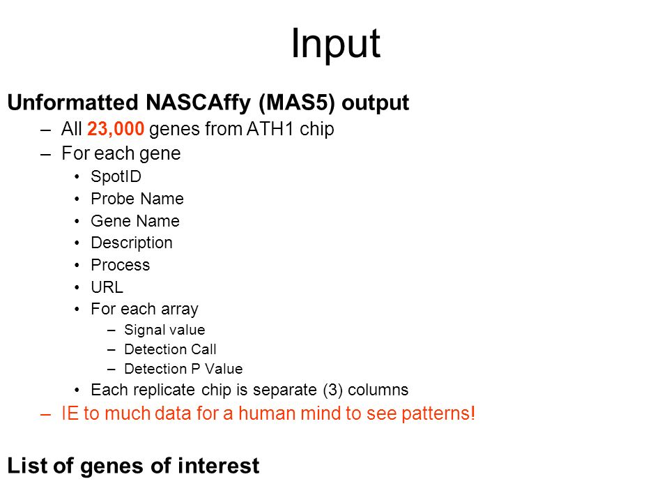 Input Unformatted NASCAffy (MAS5) output –All 23,000 genes from ATH1 chip –For each gene SpotID Probe Name Gene Name Description Process URL For each array –Signal value –Detection Call –Detection P Value Each replicate chip is separate (3) columns –IE to much data for a human mind to see patterns.