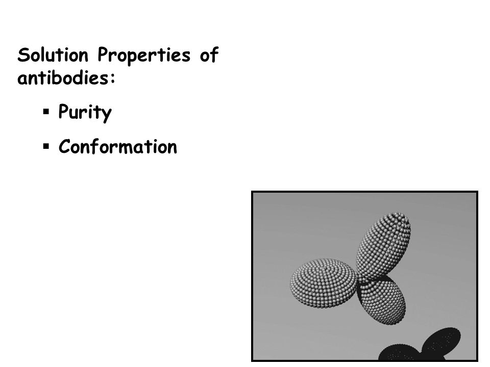Solution Properties of antibodies: Purity Conformation