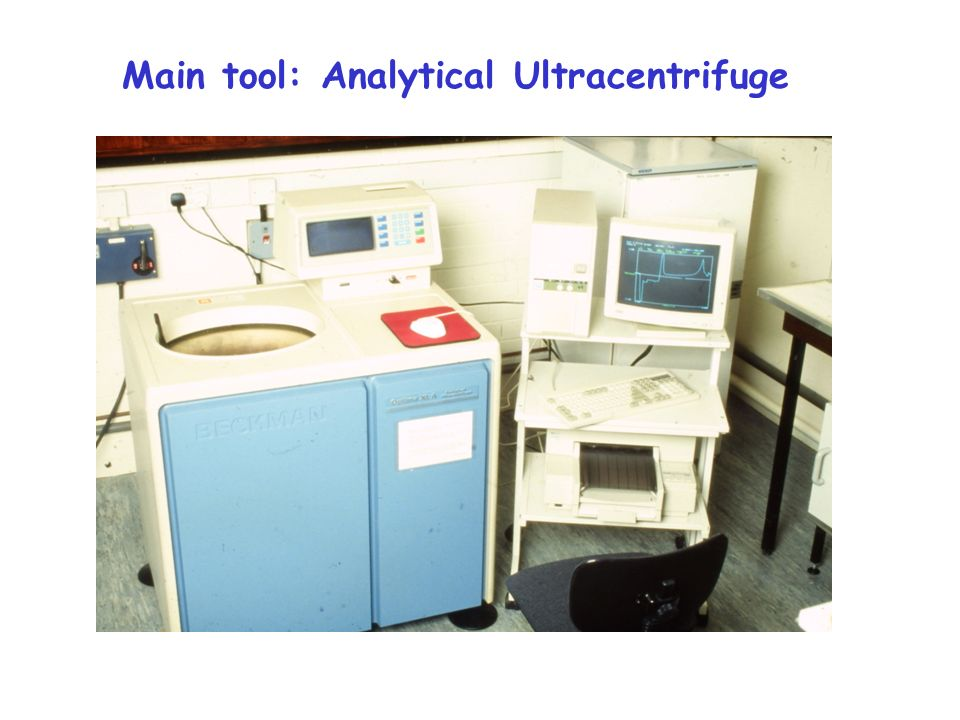 Main tool: Analytical Ultracentrifuge