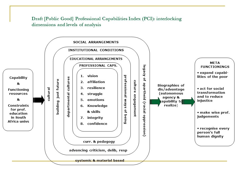 Draft [Public Good] Professional Capabilities Index (PCI): interlocking dimensions and levels of analysis 1.