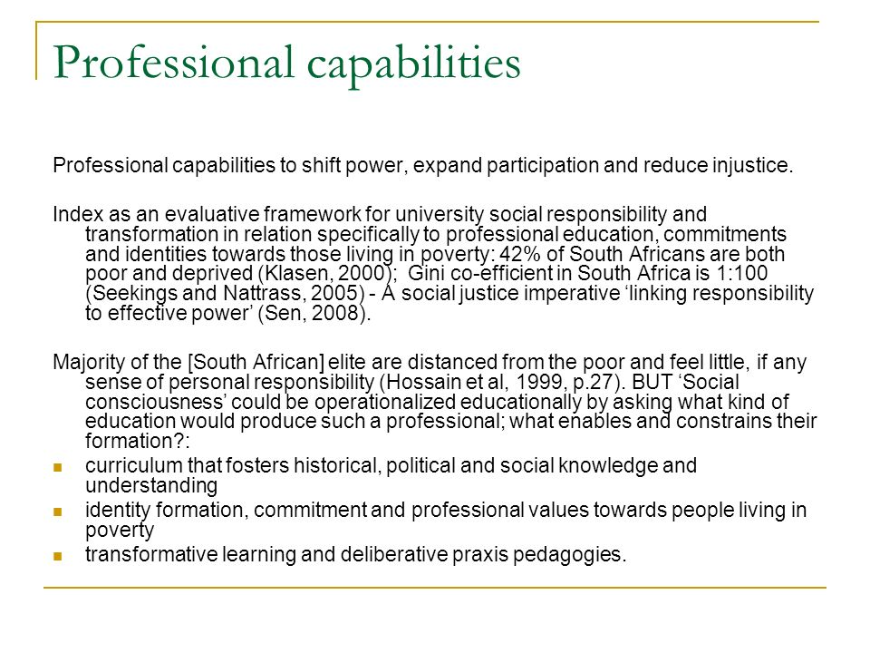 Professional capabilities Professional capabilities to shift power, expand participation and reduce injustice.