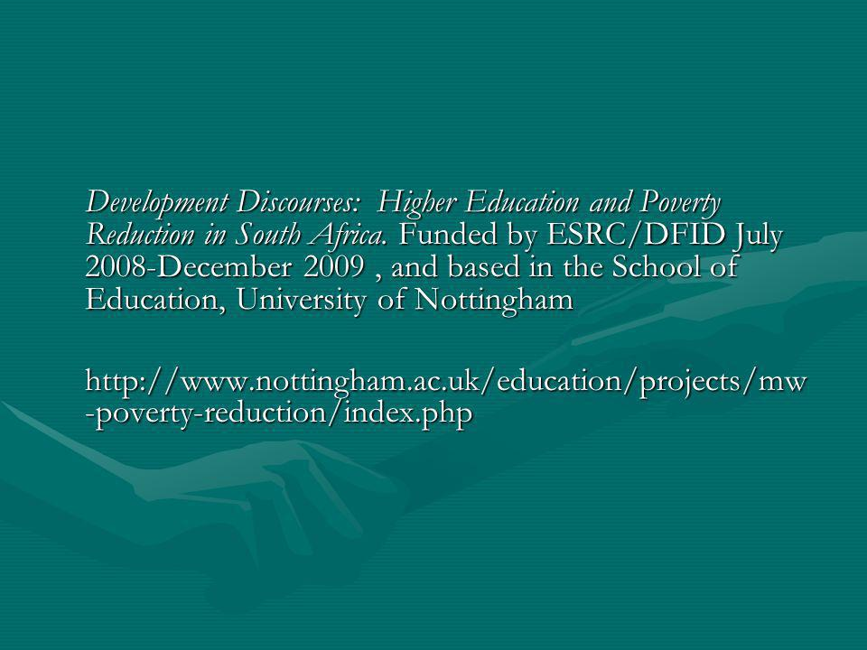 Development Discourses: Higher Education and Poverty Reduction in South Africa.
