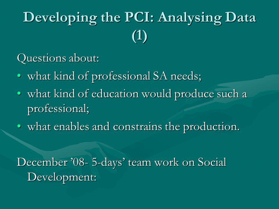 Developing the PCI: Analysing Data (1) Questions about: what kind of professional SA needs;what kind of professional SA needs; what kind of education would produce such a professional;what kind of education would produce such a professional; what enables and constrains the production.what enables and constrains the production.