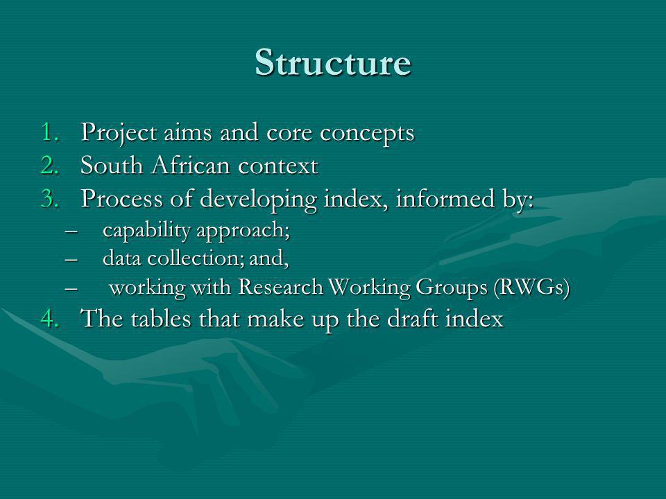 Structure 1.Project aims and core concepts 2.South African context 3.Process of developing index, informed by: –capability approach; –data collection; and, – working with Research Working Groups (RWGs) 4.The tables that make up the draft index