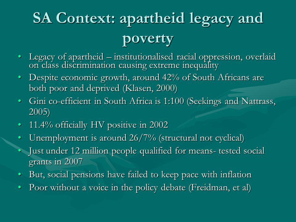 SA Context: apartheid legacy and poverty Legacy of apartheid – institutionalised racial oppression, overlaid on class discrimination causing extreme inequalityLegacy of apartheid – institutionalised racial oppression, overlaid on class discrimination causing extreme inequality Despite economic growth, around 42% of South Africans are both poor and deprived (Klasen, 2000)Despite economic growth, around 42% of South Africans are both poor and deprived (Klasen, 2000) Gini co-efficient in South Africa is 1:100 (Seekings and Nattrass, 2005)Gini co-efficient in South Africa is 1:100 (Seekings and Nattrass, 2005) 11.4% officially HV positive in 200211.4% officially HV positive in 2002 Unemployment is around 26/7% (structural not cyclical)Unemployment is around 26/7% (structural not cyclical) Just under 12 million people qualified for means- tested social grants in 2007Just under 12 million people qualified for means- tested social grants in 2007 But, social pensions have failed to keep pace with inflationBut, social pensions have failed to keep pace with inflation Poor without a voice in the policy debate (Freidman, et al)Poor without a voice in the policy debate (Freidman, et al)