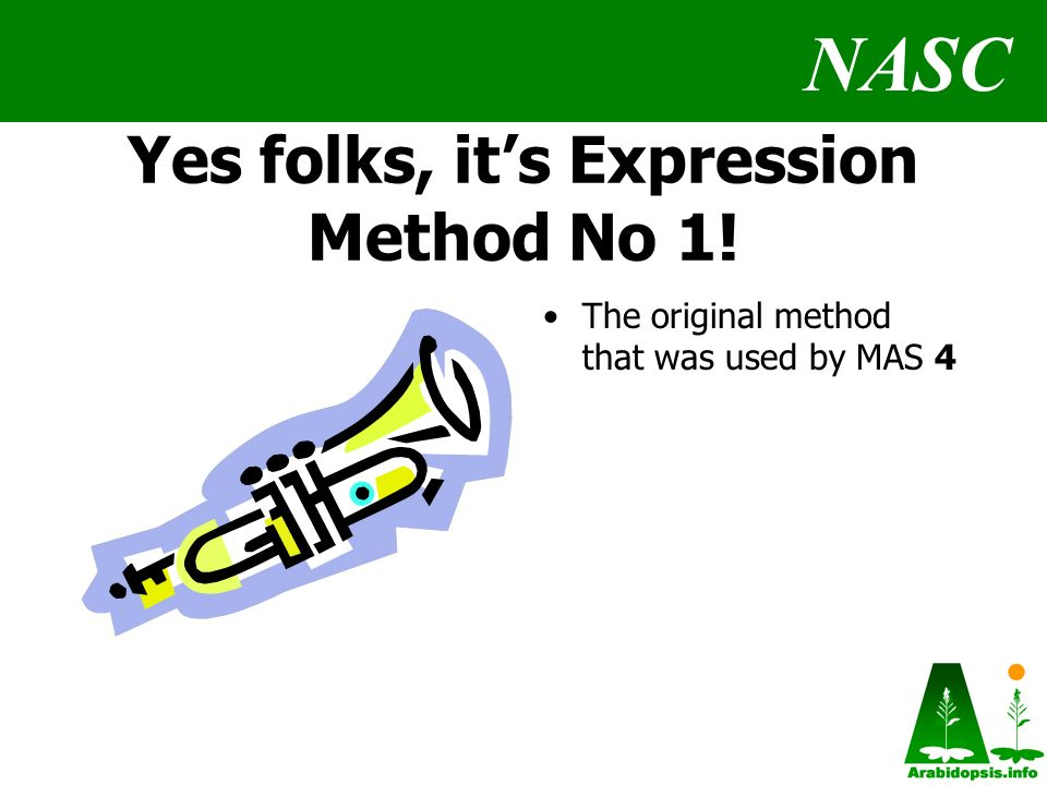 NASC Yes folks, its Expression Method No 1! The original method that was used by MAS 4
