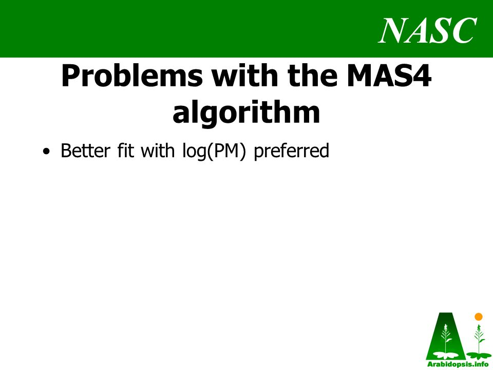 NASC Problems with the MAS4 algorithm Better fit with log(PM) preferred