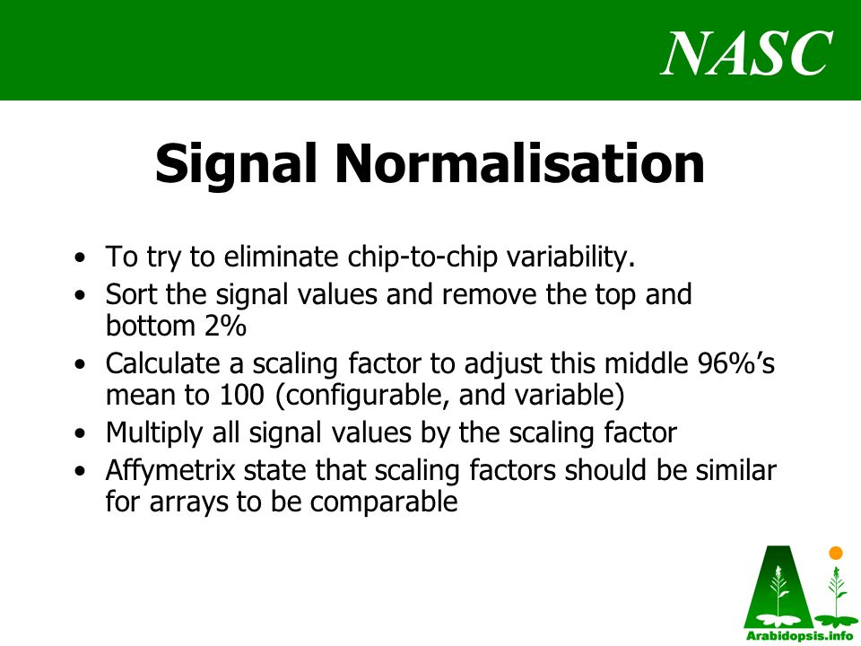 NASC Signal Normalisation To try to eliminate chip-to-chip variability.