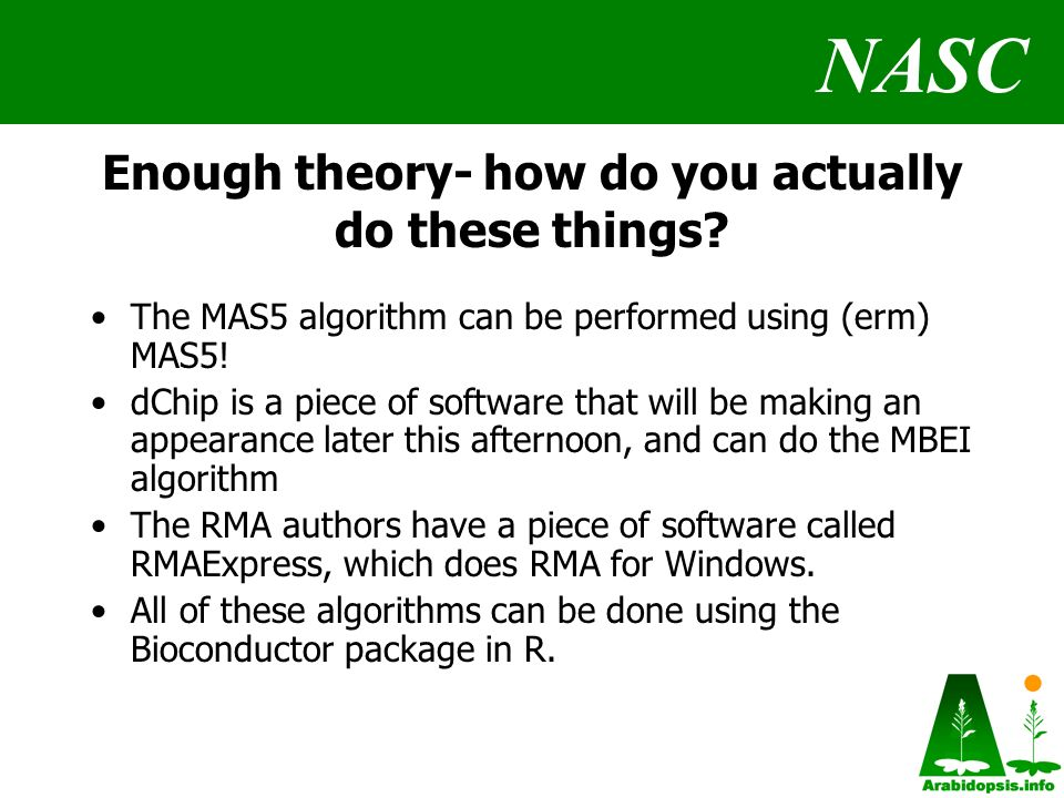 NASC Enough theory- how do you actually do these things.