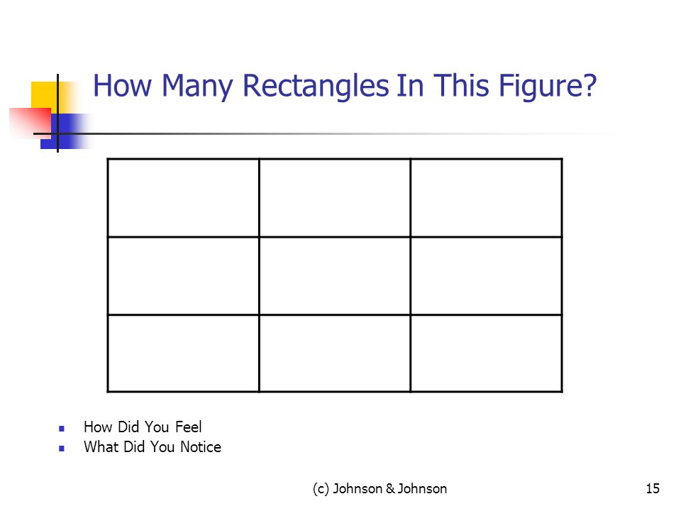 (c) Johnson & Johnson15 How Many Rectangles In This Figure How Did You Feel What Did You Notice