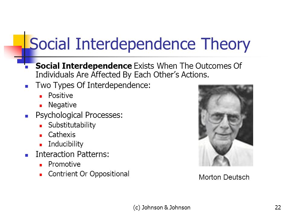 (c) Johnson & Johnson22 Social Interdependence Theory Social Interdependence Exists When The Outcomes Of Individuals Are Affected By Each Others Actions.
