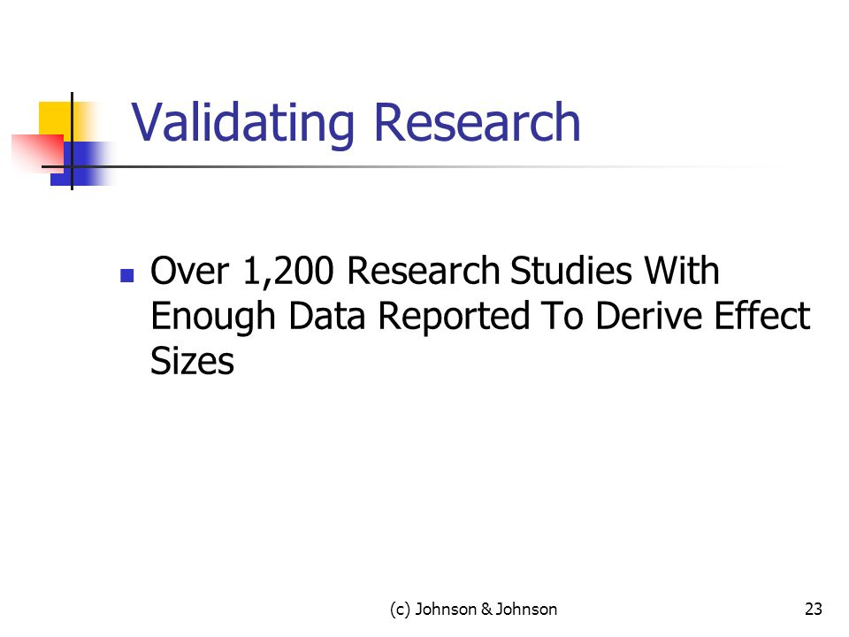 Validating Research Over 1,200 Research Studies With Enough Data Reported To Derive Effect Sizes (c) Johnson & Johnson23