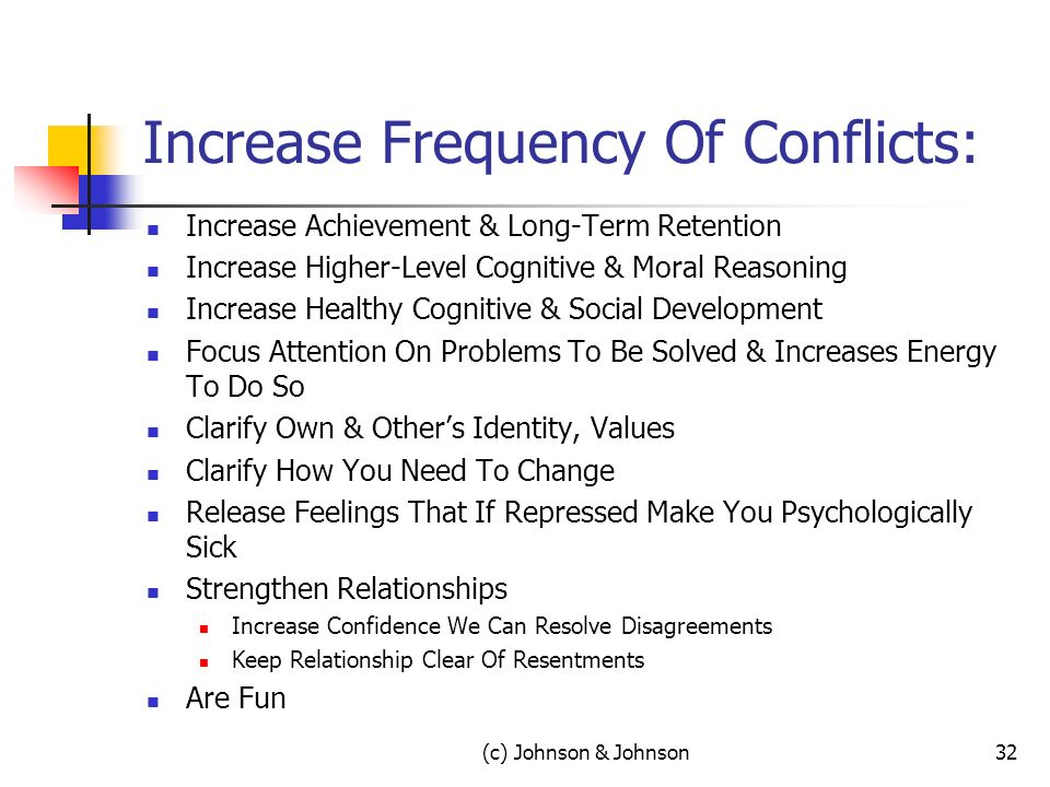 (c) Johnson & Johnson32 Increase Frequency Of Conflicts: Increase Achievement & Long-Term Retention Increase Higher-Level Cognitive & Moral Reasoning Increase Healthy Cognitive & Social Development Focus Attention On Problems To Be Solved & Increases Energy To Do So Clarify Own & Others Identity, Values Clarify How You Need To Change Release Feelings That If Repressed Make You Psychologically Sick Strengthen Relationships Increase Confidence We Can Resolve Disagreements Keep Relationship Clear Of Resentments Are Fun