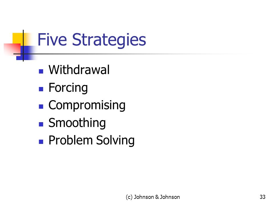 Five Strategies Withdrawal Forcing Compromising Smoothing Problem Solving (c) Johnson & Johnson33