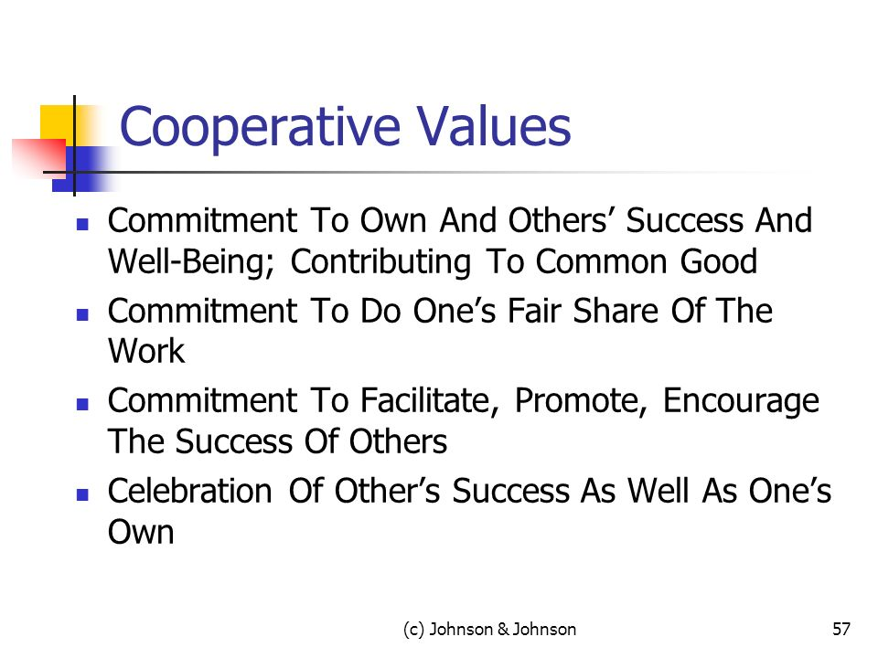 Cooperative Values Commitment To Own And Others Success And Well-Being; Contributing To Common Good Commitment To Do Ones Fair Share Of The Work Commitment To Facilitate, Promote, Encourage The Success Of Others Celebration Of Others Success As Well As Ones Own 57(c) Johnson & Johnson