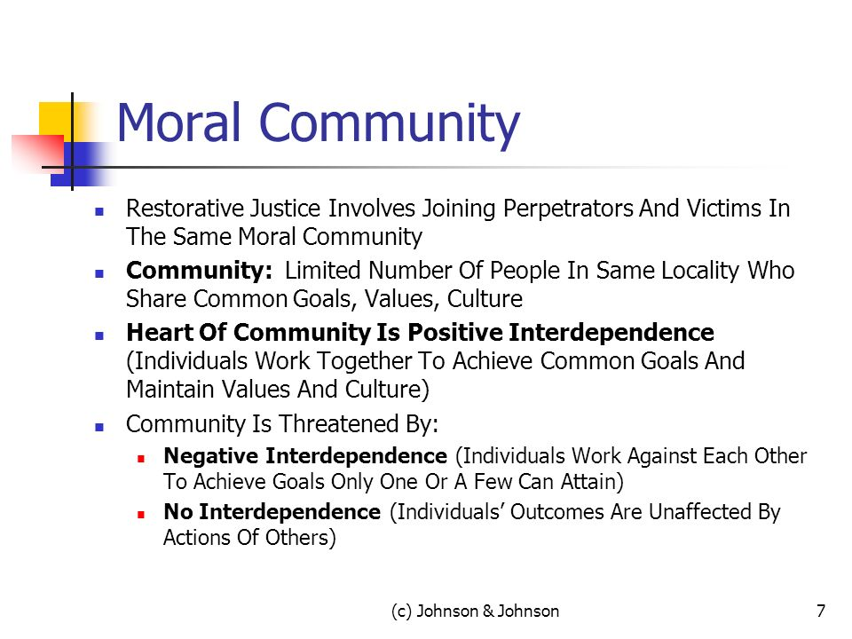 Moral Community Restorative Justice Involves Joining Perpetrators And Victims In The Same Moral Community Community: Limited Number Of People In Same Locality Who Share Common Goals, Values, Culture Heart Of Community Is Positive Interdependence (Individuals Work Together To Achieve Common Goals And Maintain Values And Culture) Community Is Threatened By: Negative Interdependence (Individuals Work Against Each Other To Achieve Goals Only One Or A Few Can Attain) No Interdependence (Individuals Outcomes Are Unaffected By Actions Of Others) 7(c) Johnson & Johnson
