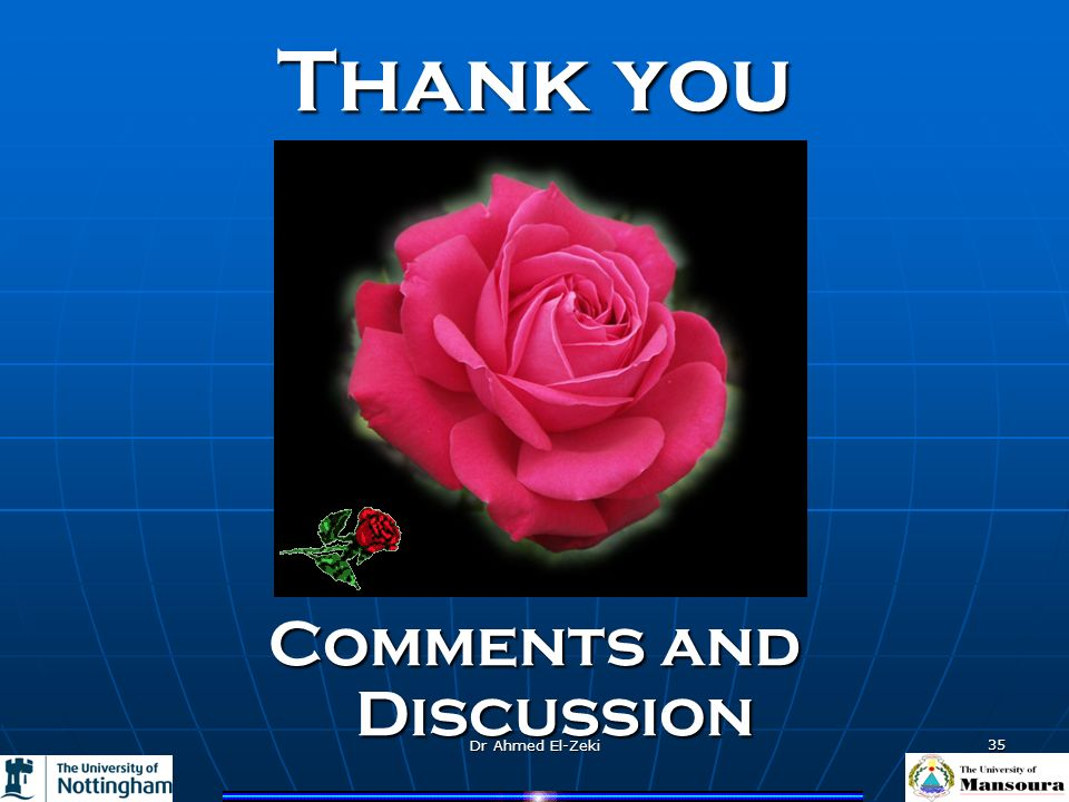Dr Ahmed El-Zeki 35 Thank you Comments and Discussion
