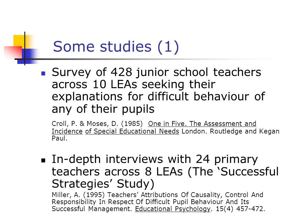 The Nottingham Psychology of Behaviour in School Project Sequence of studies with teachers and students (primary and secondary) and parents, including studies of causal attributions for difficult behaviour in schools various views of causation studies of agents judged to be most likely to bring about improvement