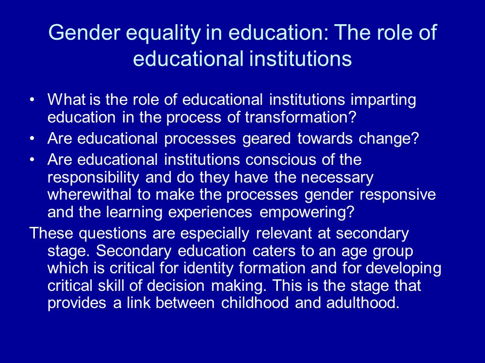 importance of gender education