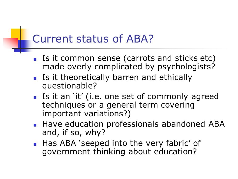 Current status of ABA.