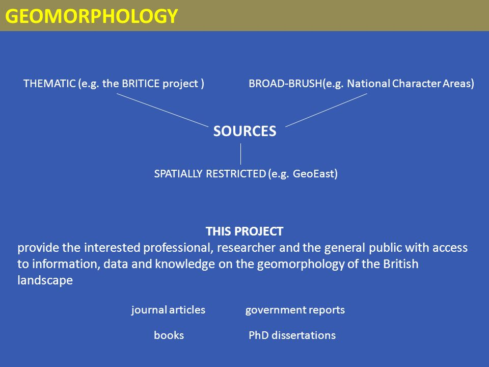 GEOMORPHOLOGY THEMATIC (e.g. the BRITICE project ) SPATIALLY RESTRICTED (e.g.