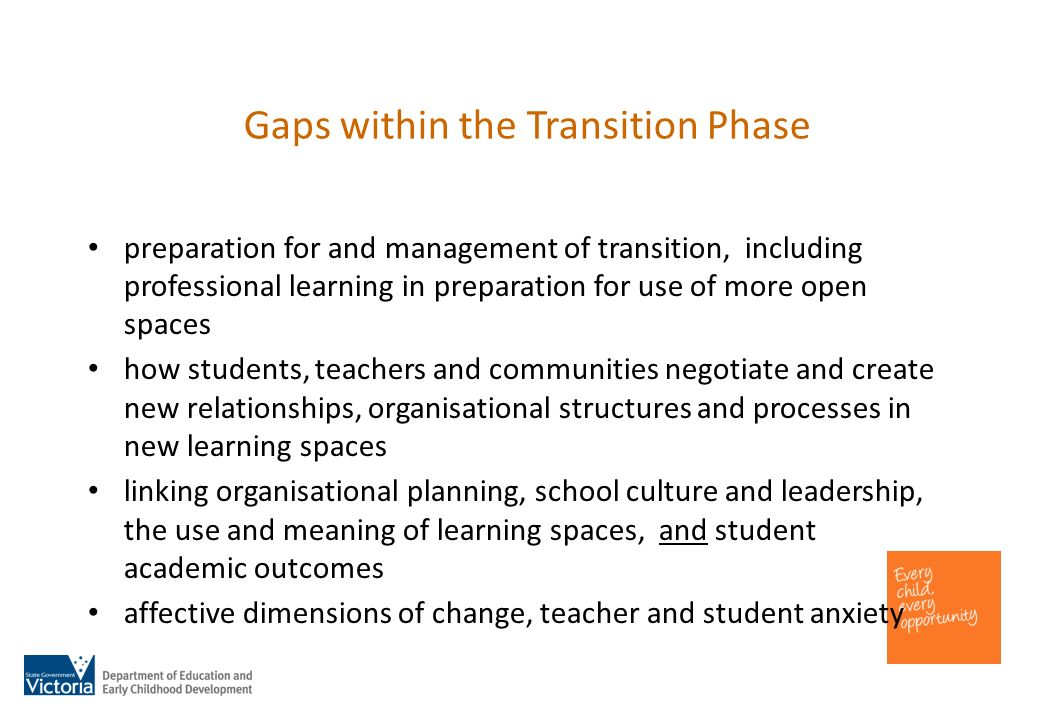 Gaps within the Transition Phase preparation for and management of transition, including professional learning in preparation for use of more open spaces how students, teachers and communities negotiate and create new relationships, organisational structures and processes in new learning spaces linking organisational planning, school culture and leadership, the use and meaning of learning spaces, and student academic outcomes affective dimensions of change, teacher and student anxiety