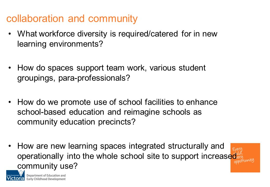 collaboration and community What workforce diversity is required/catered for in new learning environments.