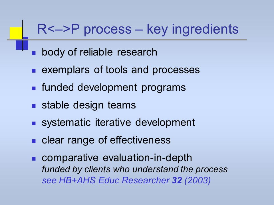 R P process – key ingredients body of reliable research exemplars of tools and processes funded development programs stable design teams systematic iterative development clear range of effectiveness comparative evaluation-in-depth funded by clients who understand the process see HB+AHS Educ Researcher 32 (2003)
