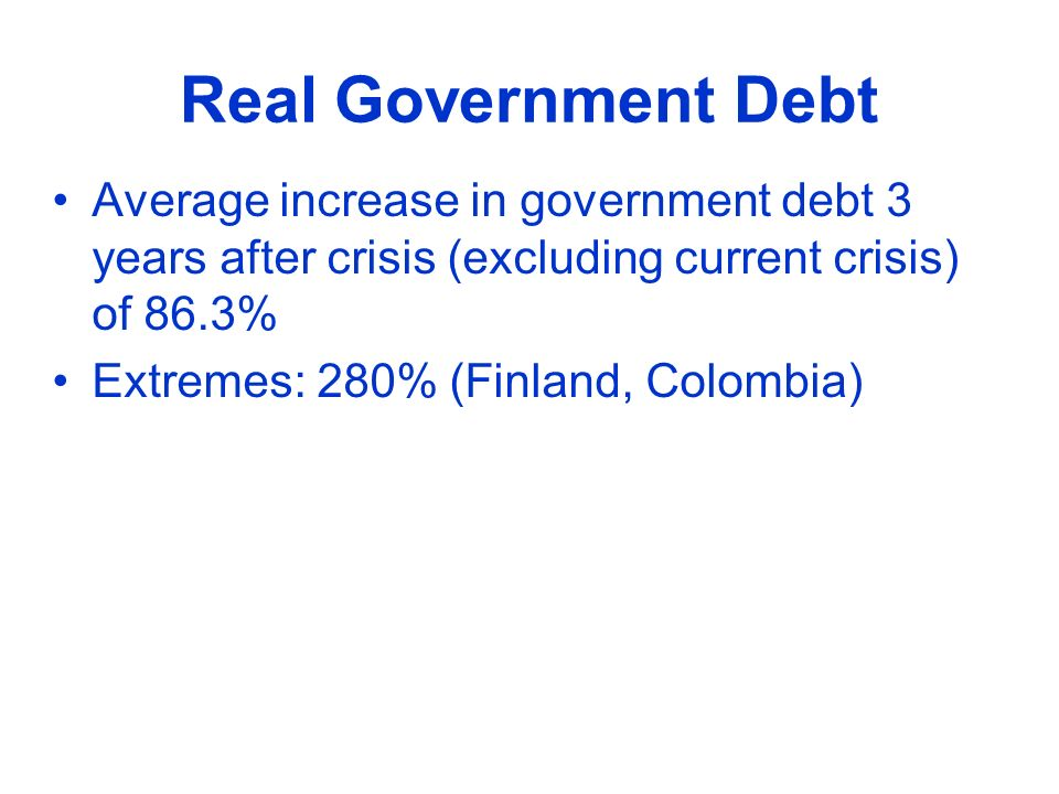 Real Government Debt Average increase in government debt 3 years after crisis (excluding current crisis) of 86.3% Extremes: 280% (Finland, Colombia)