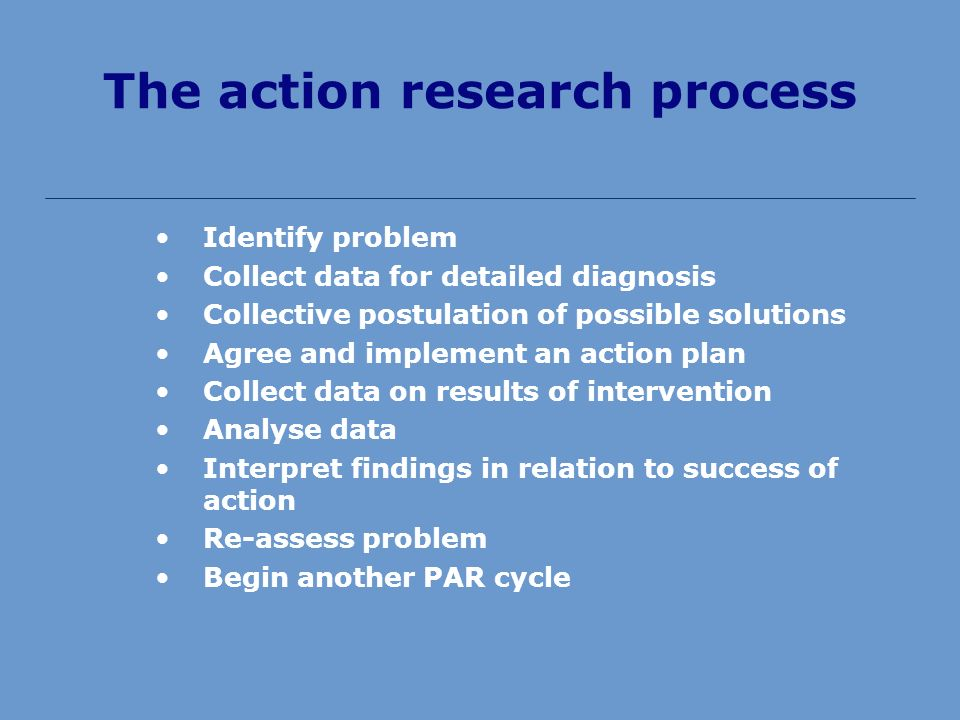 The action research process Identify problem Collect data for detailed diagnosis Collective postulation of possible solutions Agree and implement an action plan Collect data on results of intervention Analyse data Interpret findings in relation to success of action Re-assess problem Begin another PAR cycle