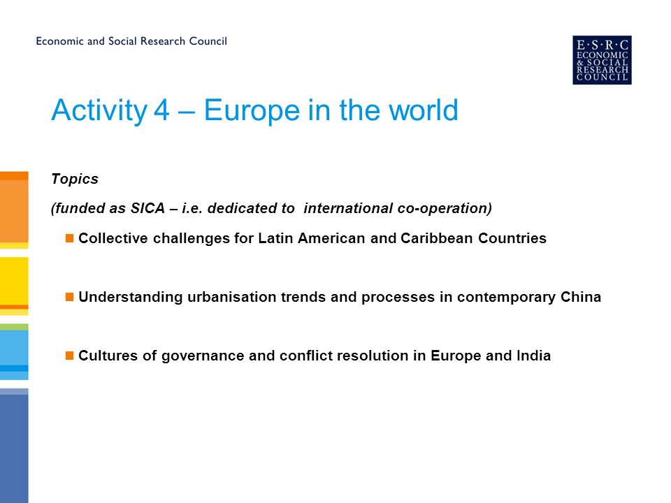 Activity 4 – Europe in the world Topics (funded as SICA – i.e.
