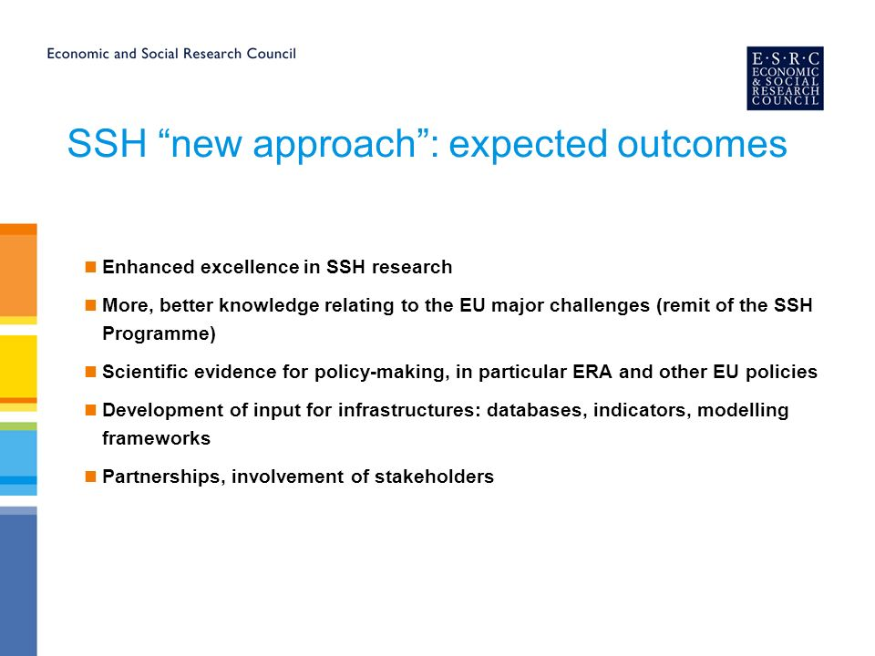 SSH new approach: expected outcomes Enhanced excellence in SSH research More, better knowledge relating to the EU major challenges (remit of the SSH Programme) Scientific evidence for policy-making, in particular ERA and other EU policies Development of input for infrastructures: databases, indicators, modelling frameworks Partnerships, involvement of stakeholders